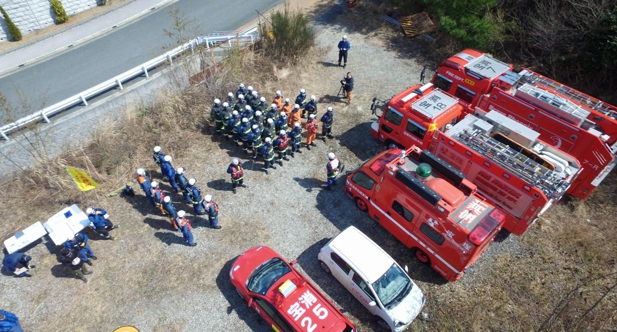 宝塚市消防本部の「林野火災対策訓練」にドローン部隊として参加!
